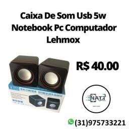Caixa De Som Usb 5w Notebook Pc Computador Lehmox