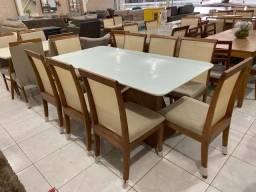 Mesa de jantar 8 lugares nova completa madeira e acabamento laka