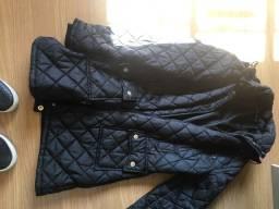 Jaqueta longa de nylon preta