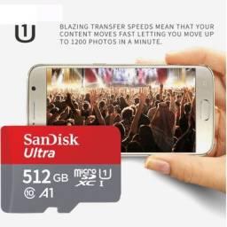 Cartão de memória 512 giga microSD Sandisk
