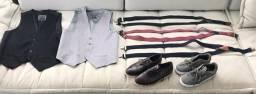 Sapato, tênis, coletes e suspensórios