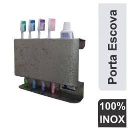 Porta escova de dentes Inox suporte creme dental Escovas