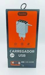 Carregador turbo 3.1 com 3 USB V8 Basike