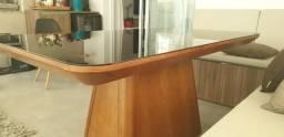 Mesa madeira com tampo de vidro preto (oportunidade)