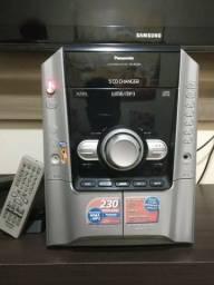 Aparelho de som Panasonic 5 CD, entrada MP3, fone de ouvido