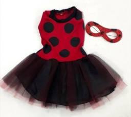 Fantasia Infantil Vestido Lady Bug + Máscara