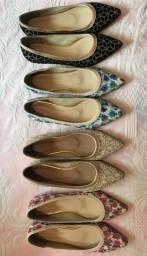 Sapatilha feminina,  marca preciosa, rendadas e com brilho, nº 38,