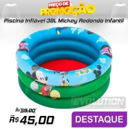 Piscina Inflável 38L Mickey Redondo 4x20x19,7cm Infantil Bestway