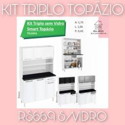 Armário para cozinha em aço  branco com preto