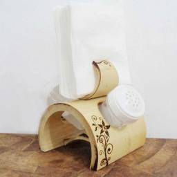 Porta Guardanapo + Saleiro e Paliteiro Decorado de Bambu