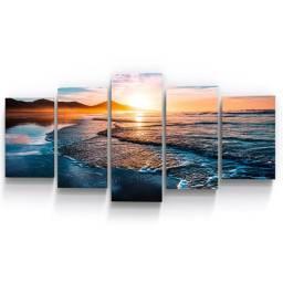 Conjunto 5 Quadros Mar Por sol Praia Sala Empresa