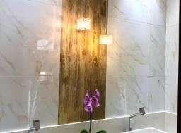 *banheiros com detalhes e luminária*