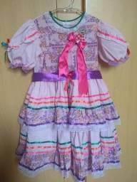 Vestido Festa Junina Rosa/Roxo colorido