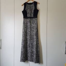 Vestido longo em cetim com renda animal print - Briance 42
