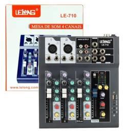 Mesa De Som Usb Mixer Mp3 Player Digital 4 Canais LE-710