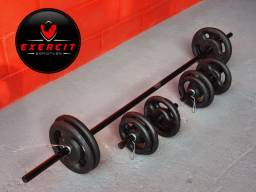 Kit completo para treinar em casa / 40 kg Anilhas e Barras