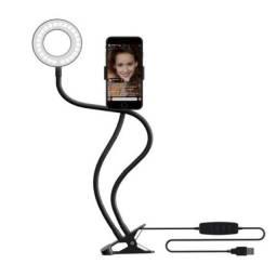 Ring Light com suporte de celular flexível, luminária