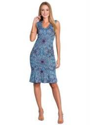 Vestido Feminino Tubinho Moda Evangélica com Babado Azul