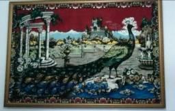 Quadro em tapeçaria pavão em perfeito estado