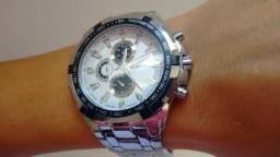 Relógio em Aço Inox Luxo Promoção Pronta Entrega 3x Sem Juros