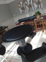 Mesa de Carteado Redondo Tecido Preto