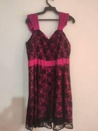 Vestido de festa rosa e preto com renda lindo