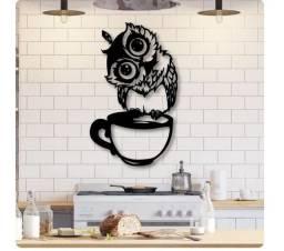 Escultura de parede corujita coffee