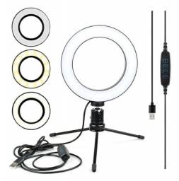 Ring Light Iluminador Selfie Makeup + Tripé De Mesa Luz Led