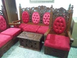 Jogo de sofá madeira