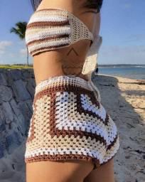 Conjunto crochê feito a mão