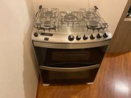 Fogão Brastemp 5 bocas duplo forno Branco com timer digital e mesa flat top - BFD5QAB