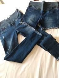 Combo Calça + Short Jeans Gestante n°38