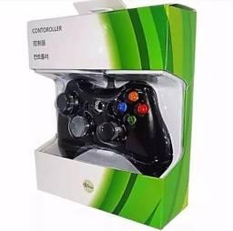 Controle Com Fio Usb Xbox 360 E Pc Slim Joystick Preto