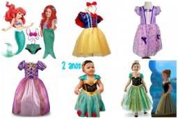 Fantasias Vestido Princesa Branca De Neve Rapunzel Anna Bebê Meninas Infantil