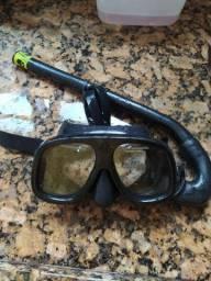 Máscara Cobrasub vidro temperado + snorkel Cobra