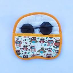 Porta óculos tecido redondo forrado estampado @ costuraentrelinha