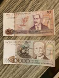 Notas de dinheiro antigo - Cruzeiros e cruzados