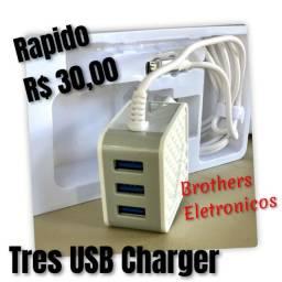Carregador 3 Saidas USB 5.1A. conector V8.