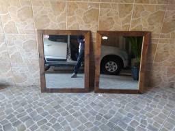 Espelhos com moldura de madeira para salão de beleza barbearia