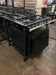 Fogão industrial Fundiferro com forno, novo, 4 bocas, baixa pressão, perfil 5