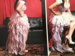 Vestido rose assimétrico bordado - 300,00
