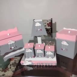 Kit Higiene Bebê Cinza e Rosa