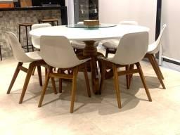 Mesa em madeira e vidro c/ 1,60 de diametro