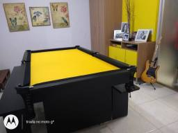 Mesa de Bilhar Encanto Preta Tx Tecido Amarelo Modelo LSQ0909