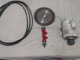 Motor de serra circular ,eixo ,serra e correia