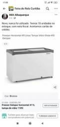 Freezer Novo da Gelopar 411L tampa de vidro 110V