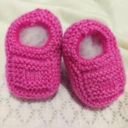 Sapatinho de Bebê de Tricô Rosa Pink - 0 a 3 meses