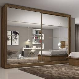 Guarda Roupa Casal com Espelho 2 Portas 6 Gavetas Sevilha 7774 Made Marcs Braúna
