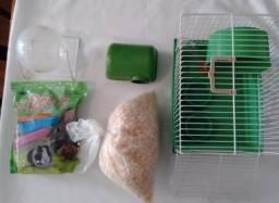 Kit Para Hamster Completo (Casa+Esteira+Bebedouro+Ração+Serragem)