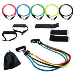 Kit Tubing Elástico 11 Peças Musculação Treinamento Funcional